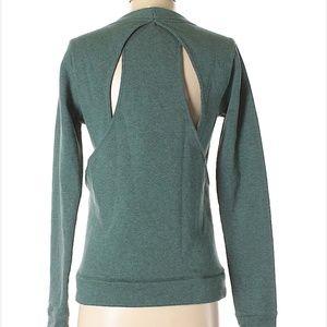 Lululemon Cut Out Back Crew Sweatshirt Teal Sz 4